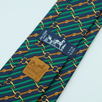 Vintage Hermes Paris Made in France Multi Color Belt Pattern Silk Tie 986 SA