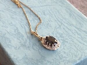 9ct gold Sapphire and Diamond necklace UK only