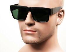 Large Square Cholo Sunglasses OG LOC Style Gangster Black Matte/Gray/Green ST1
