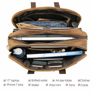 """Men Leather Travel Backpack 17"""" Laptop Bag Camping School Bag Carry On Satchel"""