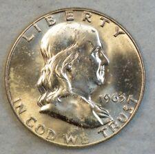 1963 D Benjamin Franklin Silver Half Dollar 90% Silver UNC BU UNCIRCULATED 538