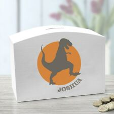 Personalised  Wooden Money Box Dinosaur Silloutte and child's name printed