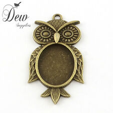 5 x Owl  pendant tray Cabochon Settings Antique Bronze bezel jewellery oval