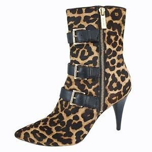 £290 Michael Kors Leopard Print Calf Hair Pony Skin Fur Ankle Boots UK 5 US 7.5
