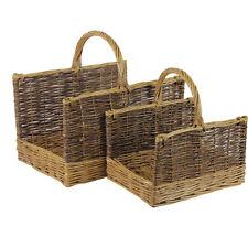 JVL Set of 2 Rectangular Two Tone Log Storage Baskets