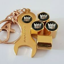 TRANSFORMERS Gold Valve Dust Caps With Spanner Keychain for all Cars & Bikes