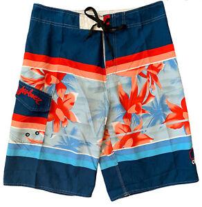 Quicksilver Swim Trunks Floral Board Shorts Mesh Lined Blue-Red-Orange Men's 34