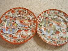 Antiguo Porcelana China placa, Dorada, juego de 2 placas