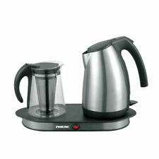 Nikai NKT1730S Stainless Steel Kettle with Tray & Glass Pot - 220-240 Volt 50 Hz
