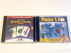 Lot 2 Twin Pack Phonics 4 Kids Talking Flash Cards Educational PC Cd Rom Cosmi