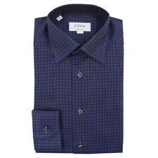 Eton - Contemporary Fit Flannel Twill Check Navy Shirt - 16 / 41 - RRP £160