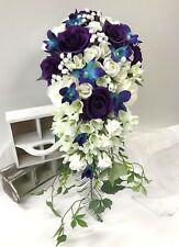 Silk wedding bouquet white roses blue orchids purple rose teardrop cascading