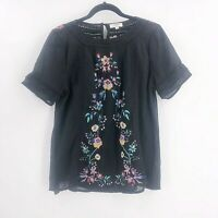 Umgee Size Small Floral Black Blouse Top Gauzy Peasant Boho Short Sleeve Womens
