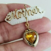 Vtg MOTHER GF Wire Mother of Pearl Topaz Citrine Heart Locket Dangle Pin