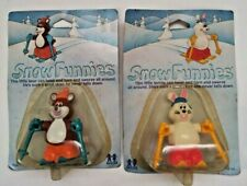 Snow Funnies Little Bunny and Little Bear Wind up Toys Tomy 1981