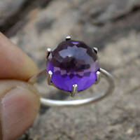 Natural Rose Cut Amethyst Gemstone 925 Sterling Silver Birthstone Ring Size 7