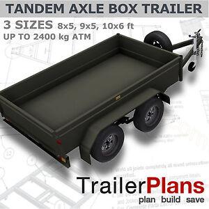 Trailer Plans - TANDEM BOX TRAILER PLANS - 8x5, 9x5, & 10x6ft - PLANS ON CD-ROM