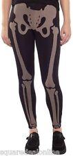 130574 Black Them Bones Leggings Stretchy Skeleton Goth Punk Halloween Small