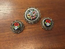 Beautiful Vintage Italian Filigree Floral Micro Mosaic Brooch And Earring Set
