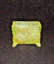 VASELINE CARNIVAL GLASS GRAPES PATTERN BUSINESS CARD HOLDER Footed Exc. Marked