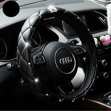 Car Truck Leather Steering Wheel Soft Cover Pink & Black Damping Diameter 38cm O