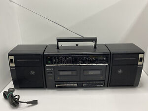 Sony CFS-W420 Stereo Dual Cassette Radio AM FM Black Tested and working