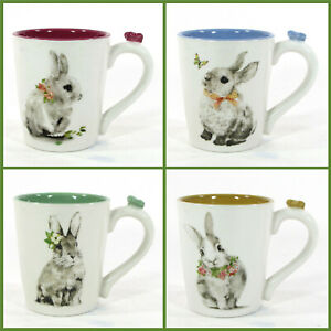 NEW Pier 1 Imports BUNNY PALS 16oz Mug Set 4Pc Rabbit Flower Butterfly Easter