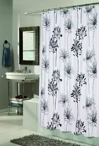 Cologne Fabric Shower Curtain Design With Flocking 70x72 Inch Multiple Colors