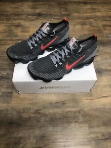New Nike Air VaporMax Flyknit 3 Iron Grey Track Red Men's Size 10.5 CT1270-001