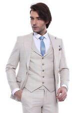 Men 3pc Vested Suit European WESSI J.VALINTIN Slim Fit 132-52 English Plaid Tan