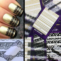 Black White 3D Lace Design Nail Art Manicure Tips Stickers Decals DIY Decoration
