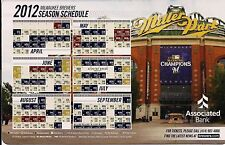 MILWAUKEE BREWERS 2012 SGA MAGNETIC SCHEDULE GIVEN AWAY 2011 FAN APPRECIATION