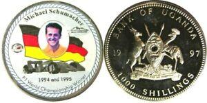 elf Uganda 1,000 Shillings 1997  Michael Schumacher Race Car Formula 1