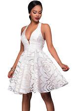 Ladies White Skater Dress Halter Neck Plunge V Neck Party Mini  Dress 10/12