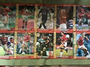 MIDDLESBROUGH FC HOME PROGRAMMES - 10 FROM SEASON 1995/96