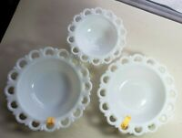 Vintage Milk Glass Lattice Hearts 2 Bowls & 1 Pedestal Dish. Anchor Hocking Lot