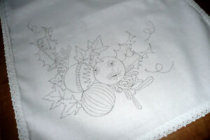 Printed to hand embroider Tray Cloth Christmas Festivities with Lace edge CSO104