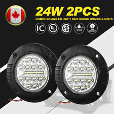 Flush Mount LED Pods 2 Pcs 24w Spot Flood Beam Led Light Bar Round Driving Light