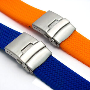 Tyre Tread Design Silicone Deployment Watch Band 20mm 22mm 24mm (Style 3) C036