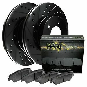 Fit Honda, Acura Civic, EL Front Black Drill Slot Brake Rotors+Ceramic Brake Pad