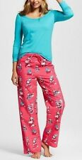 3 PC SET Ladies Nite Nite Munki Munki Santa Pajama Sleep Shirt & Flannel Pants S