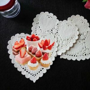 100x 4in Heart Shape Paper Doily Party Cake Coasters Placemat Craft Sellinqwe