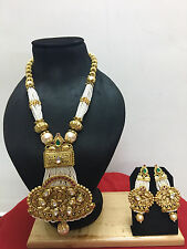 Indian Ethnic Bollywood Gold Plated Kundan Pearl Fashion Jewelry Necklace Set