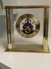 LC Designs Gold Flat Top Skeleton Mantel Clock 7076