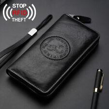 Men's Bag Clutch Bag Cowhide Leather Cell Phone Long Wallet RFID Blocking Black