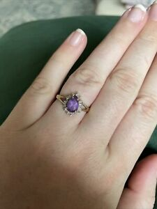 Pear Shaped Amethyst And Diamond Ring