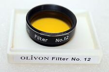 "Genuine 1.25"" Olivon #12 yellow filter for telescope eyepiece. Retail boxed UK"