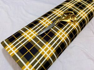 *NEW* Stretch Double Knit Jersey Checked Gold-Black Mask/Dress Fabric*FREE P&P*