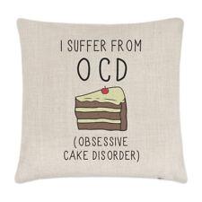 Soffro di disturbo ossessivo-compulsivo ossessivo torta Lino Copricuscino-cuscino divertente