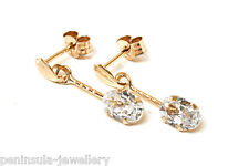 9ct Gold CZ short drop earrings Gift Boxed Made in UK